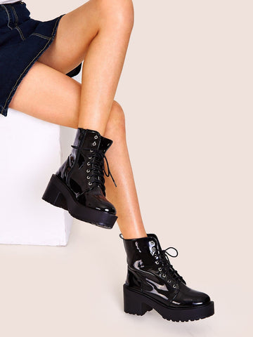 Black Lace-up Front Lug Sole Chunky Boots