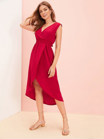 Red Sleeveless V-Neck Tie Back Shirred Asymmetrical Hem Dress