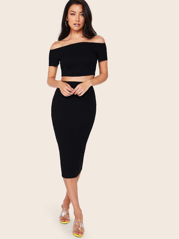 Black Off Shoulder Rib-knit Slim Fit Top and Split Skirt Set Without Belt
