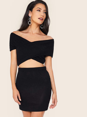 Black Off Shoulder Solid Bardot Rib-knit Crop Top & Skinny Skirt Set