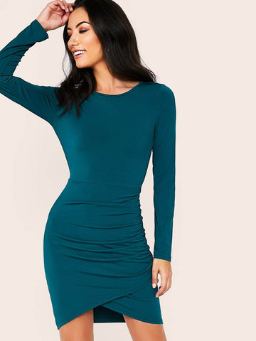 Green Round Neck Solid Long Sleeve Dress With Ruched Wrap Skirt