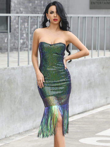 Sleeveless Strapless Fringe Trim Sequin Bodycon Tube Dress