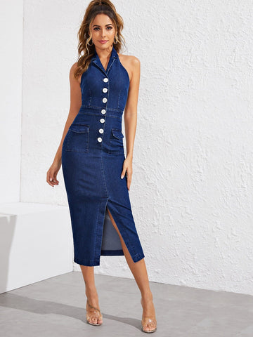 Navy Blue Sleeveless Button Front Flap Pocket Slit Hem Halter Denim Dress
