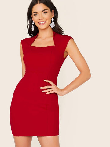 Burgundy Stand Collar Solid Zip Back Bodycon Dress