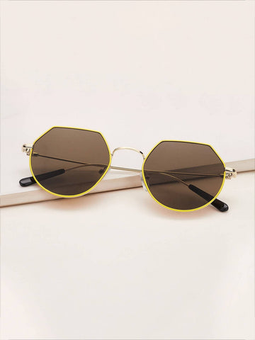 Brown Polygon Frame Flat Lens Sunglasses
