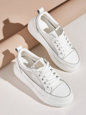 White Rhinestone Decor Mesh Panel Sneakers