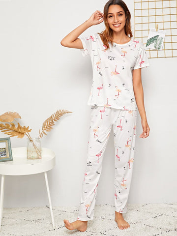 White Short Sleeve Flamingo Print Round Neck Sleepwear Set With Eye Cover