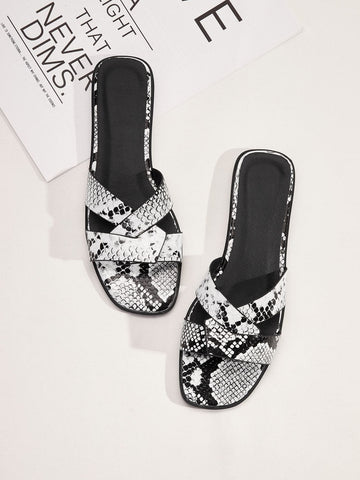 Open Toe Snakeskin Cross Strap Flat Sliders Slippers