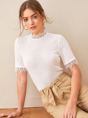 White Stand Collar Keyhole Back Lace Trim Slim Knit Top