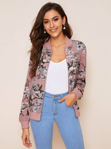 Pastel Pink Stand Collar Floral Print Zip Up Jacket