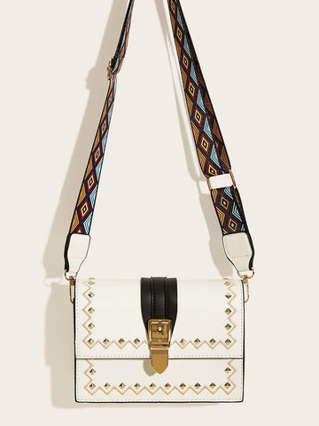 White Studded Decor Buckle Strap Bag