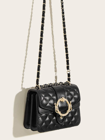 Black Metal Buckle Decor Quilted Chain Bag