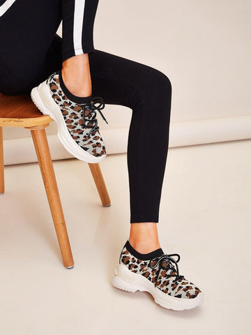 Almond Toe Lace-up Front Chunky Sole Knit Trainers Sneakers