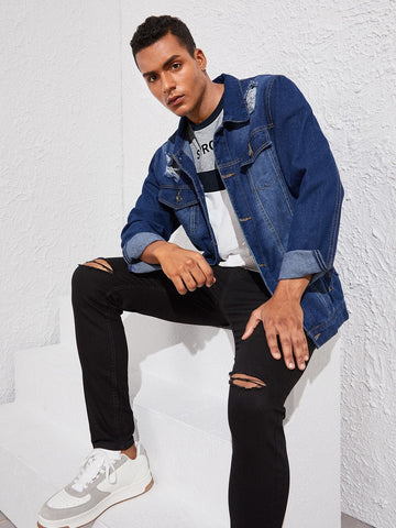 Navy Blue Single Breasted Western Flap Pocket Ripped Denim Jacket