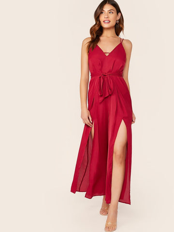 Red Spaghetti Strap Sleeveless Crisscross Back M-slit Hem Belted Slip Jumpsuit