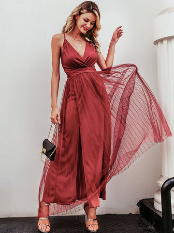 Burgundy V-Neck Spaghetti Strap Criss-cross Backless Mesh Overlay Slip Dress