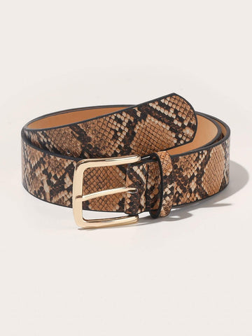Snakeskin Pattern Buckle Belt