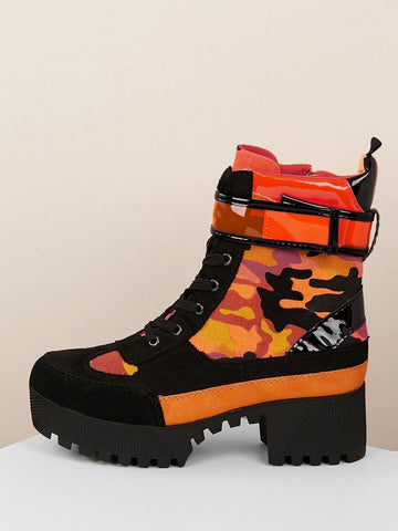 Lace Up Neon Camo Lug Sole Boots