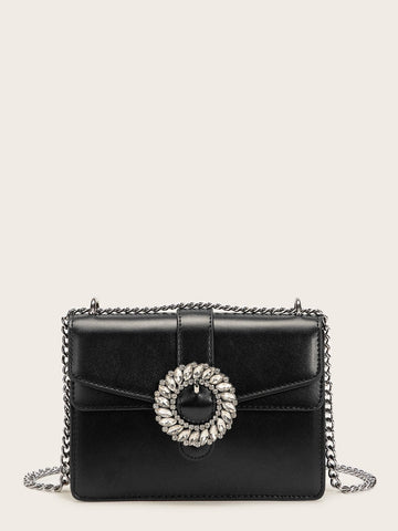 Black Jewelled Buckle Decor Chain Bag