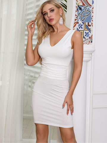 White Sleeveless Missord Solid V Neck Bodycon Dress