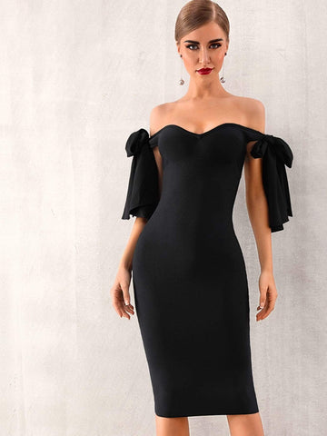 Black Off Shoulder Knotted Pencil Dress