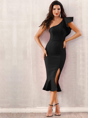 Black Sleeveless One Shoulder Ruffle Slit Hem Mermaid Dress