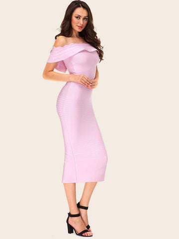 Pastel Pink Off Shoulder Ruffle Trim Slit Hem Bardot Bandage Dress