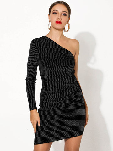 Black One Shoulder Sequin Bodycon Dress