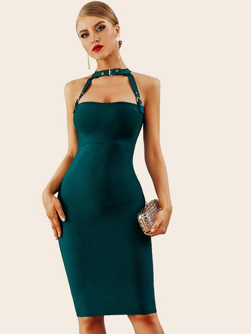 Green Sleeveless Zip Back Halterneck Bodycon Dress