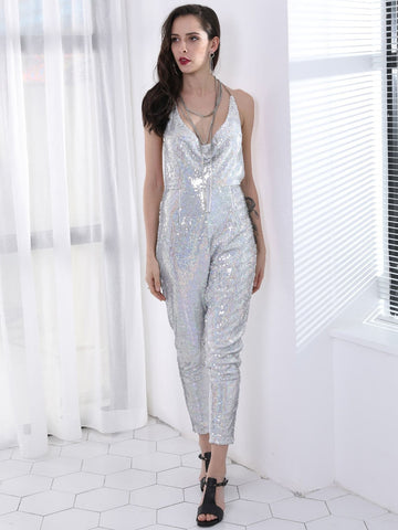 Grey Silver Sleeveless Backless Sequin Halter Jumpsuit