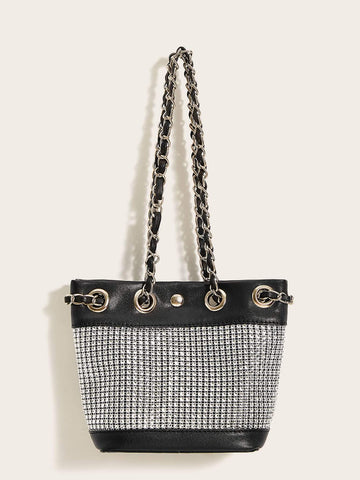 Black and White Chain Strap Two Tone Crossbody Bag