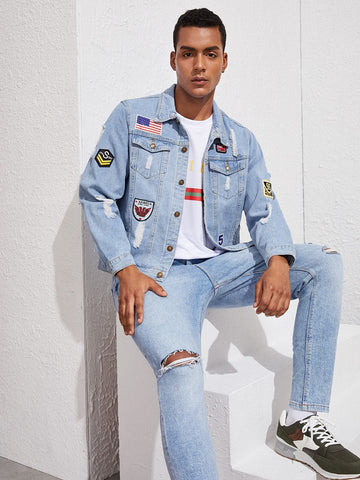Blue Light Wash Ripped Patched Single Breasted Denim Jacket