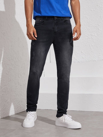 Straight Leg Black Wash Ripped Jeans