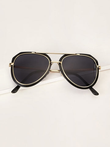 Black Top Bar Aviator Sunglasses