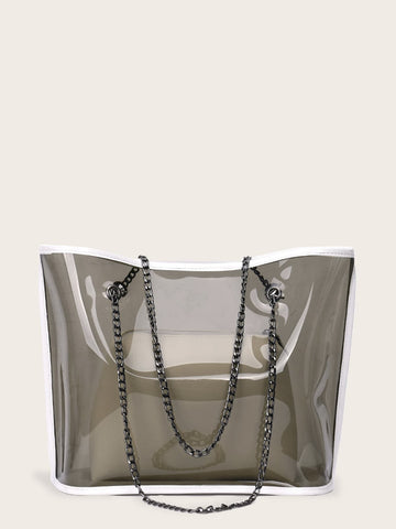 Grey Clear PVC Chain Tote Bag With Inner Clutch