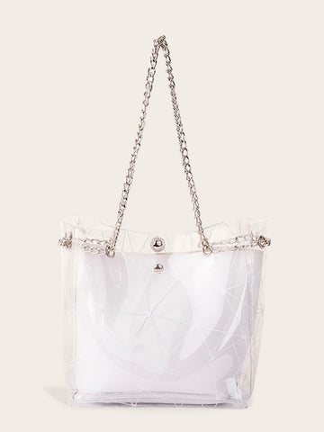 White Geometric Print Clear Chain Tote Bag