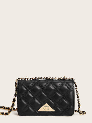 Black Twist Lock Quilted Chain Bag