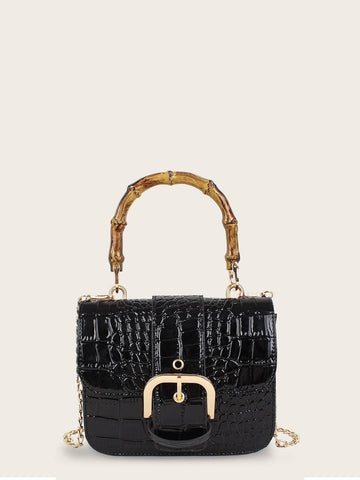 Black Buckle Decor Croc Embossed Chain Bag