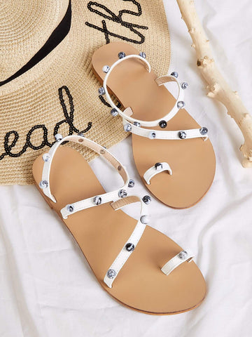 White Toe Ring Studded Decor Flat Sandals