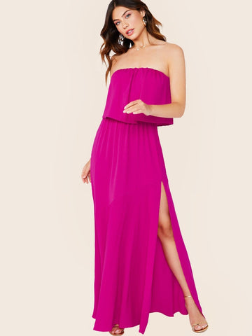 Pink Sleeveless Strapless Ruffle Side Slit Maxi Dress