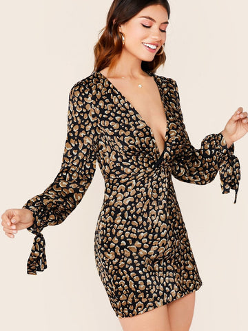 V-Neck Twist Front Long Sleeve Leopard Dress
