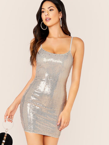 Spaghetti Strap Sleeveless Sequin Mini Slim Fit Cami Dress