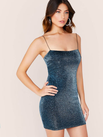 Sleeveless Metallic Glitter Blue Spaghetti Strap Mini Dress