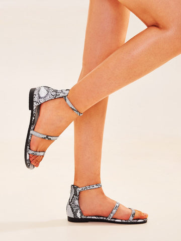 Open Toe Snakeskin Print Ankle Strap Sandals