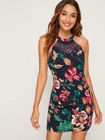 Sleeveless Lace Inert Floral Print Bodycon Halter Dress