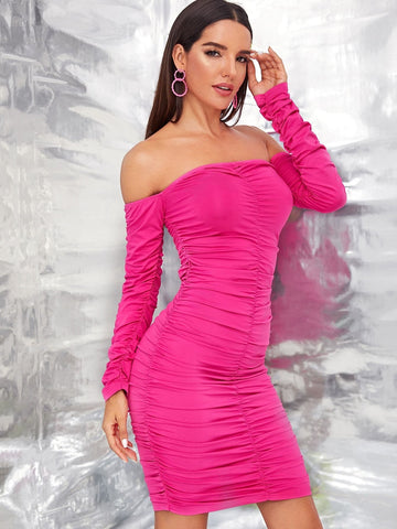 Pink Solid Off Shoulder Ruched Bodycon Dress