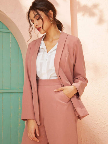 Pink Shawl Collar Pocket Detail Blazer