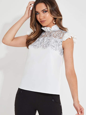 White Stand Collar Contrast Lace Ruffle Trim Blouse
