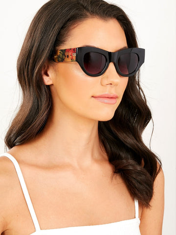Floral Detail Slight Cat Eye Acrylic Sunglasses