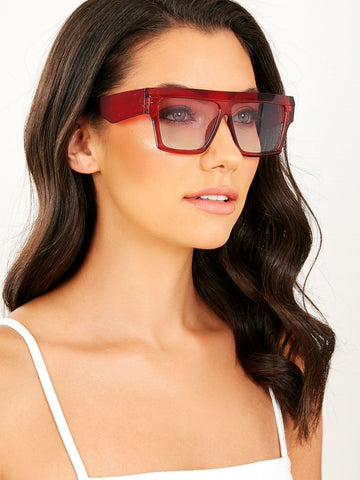 Clear Colored Acrylic Rectangle Sunglasses